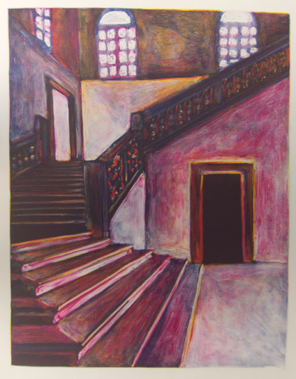 Pink Stairs Monoprint