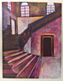 Wood Monoprint Pink Stairs